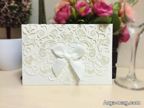 کارت دعوت عروسی طرح دار سفید رنگ