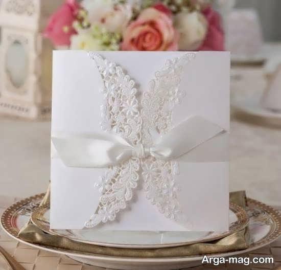 کارت عروسی های سفید رنگ طرح دار