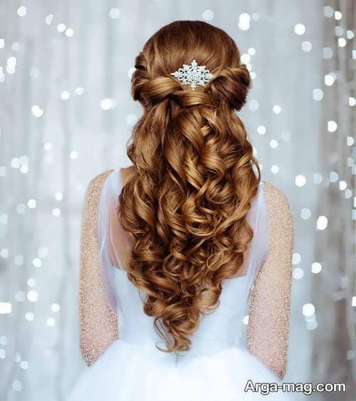 مدل موی فر عروس با تاج