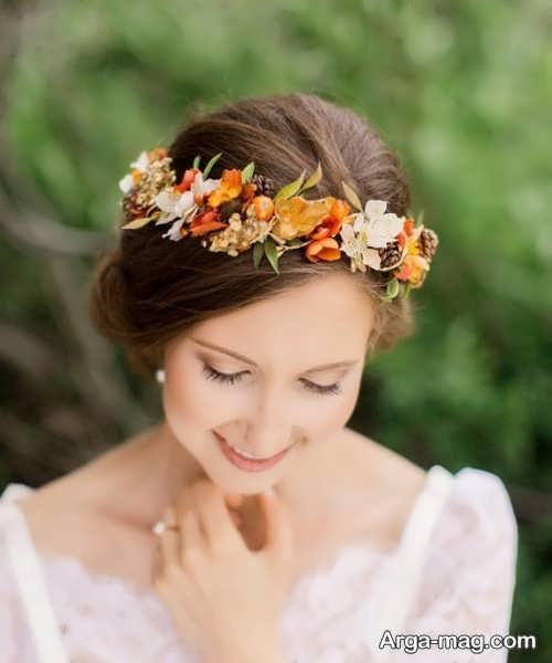 شینیون عروس با تاج گل طبیعی