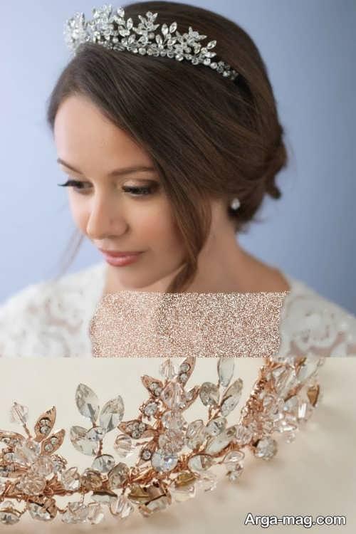 مدل موی بسته عروس با تاج