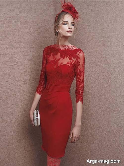 لباس مجلسی آستین دار و قرمز