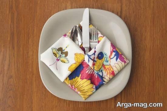 تزئینات هنرمندانه دستمال سفره