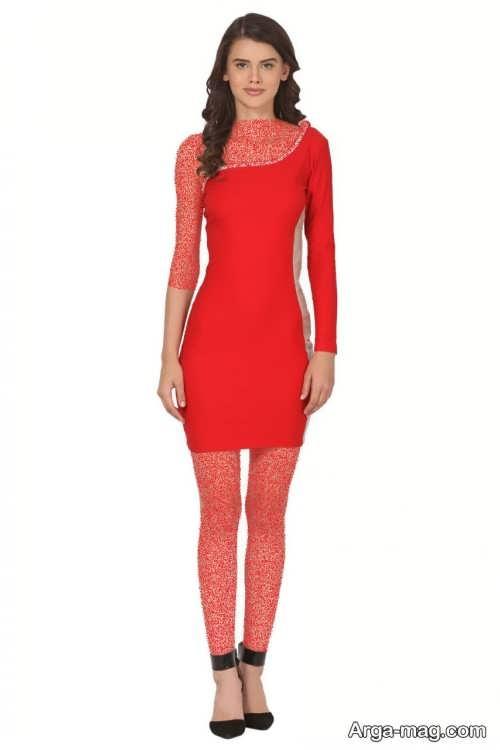لباس مجلسی قرمز یک طرفه