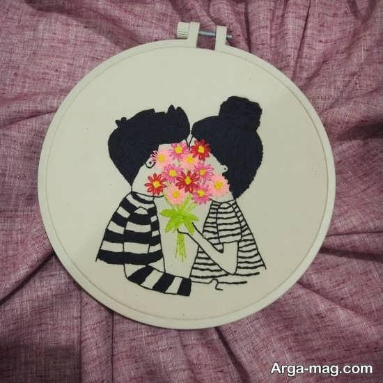 طرح گلدوزی عاشقانه و زیبا با خلاقیت های رمانتیک و دوست داشتنی