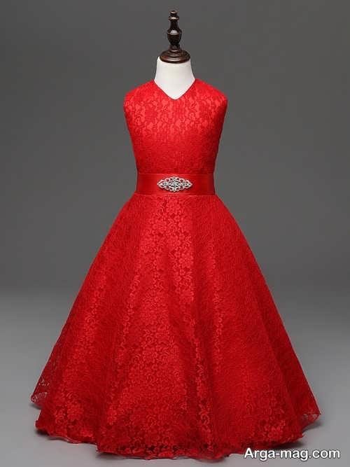 لباس مجلسی قرمز بچه گانه