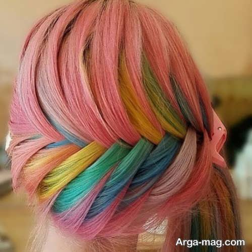 رنگ موی زیبا و شیک رنگین کمانی