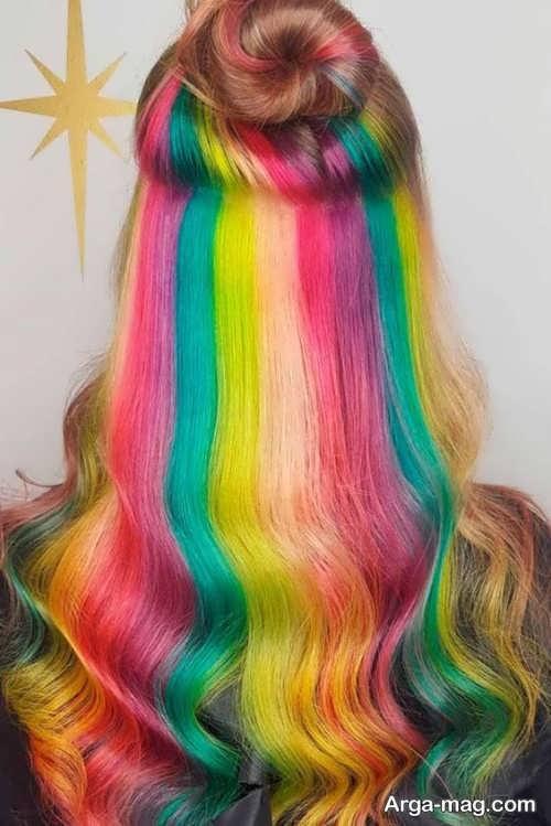 مدل رنگ مو رنگین کمانی