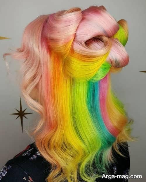 مدل رنگ موی شیک و زیبا رنگین کمانی