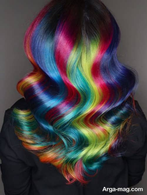 رنگ موی زنانه رنگین کمانی