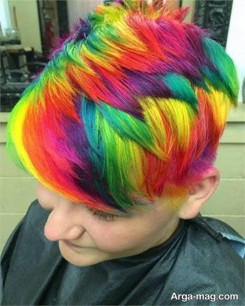 رنگ مو زنانه رنگین کمانی