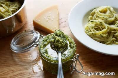 پاستا با سس پستو خوشمزه