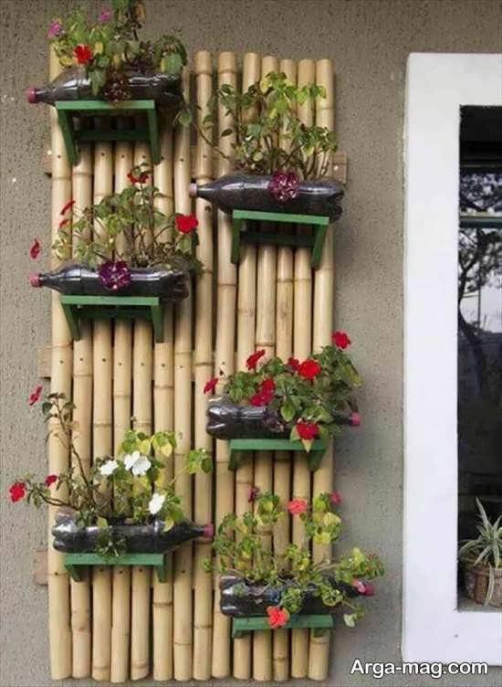 استفاده از بطری برای درست کردن گلدان های دیواری