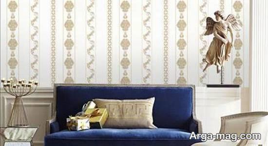 کاغذ دیواری سالن پذیرایی با رنگ و طرح های زیبا