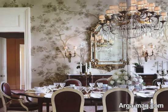 کاغذ دیواری سالن پذیرایی با طرح و رنگ زیبا