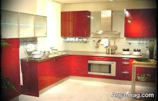 دکوراسیون قرمز آشپزخانه کوچک