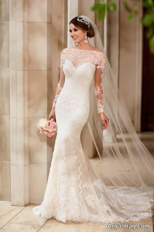 لباس عروس آستین دار بدون پف