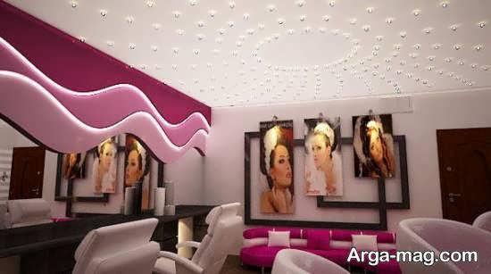انواع دکوراسیون سالن زیبایی جذاب و خیره کننده همراه با رقص نور