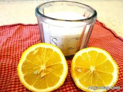 تمیز کردن ظرف مسی با لیمو و نمک