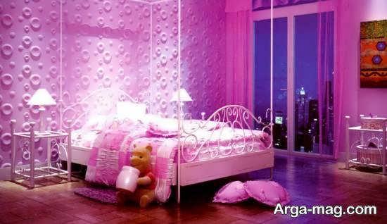 دکوراسیون اتاق خواب صورتی زیبا و جالب