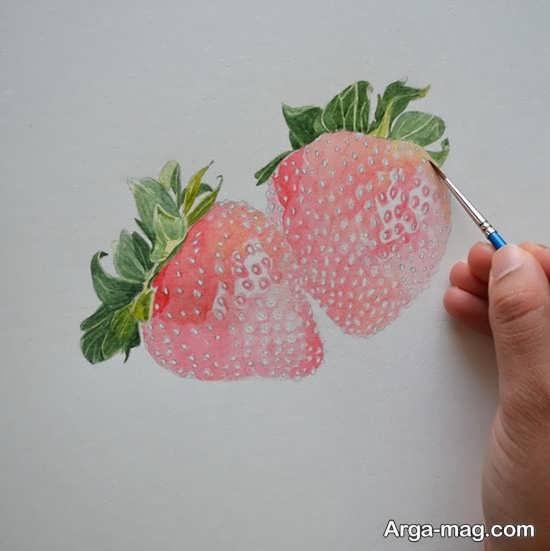 تصویر دوست داشتنی از نقاشی میوه توت فرنگی