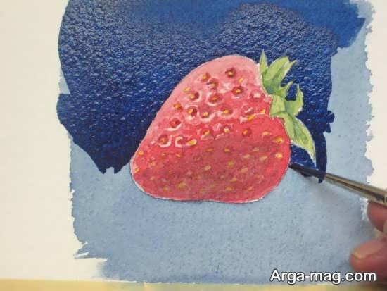 نقاشی سه بعدی از میوه توت فرنگی