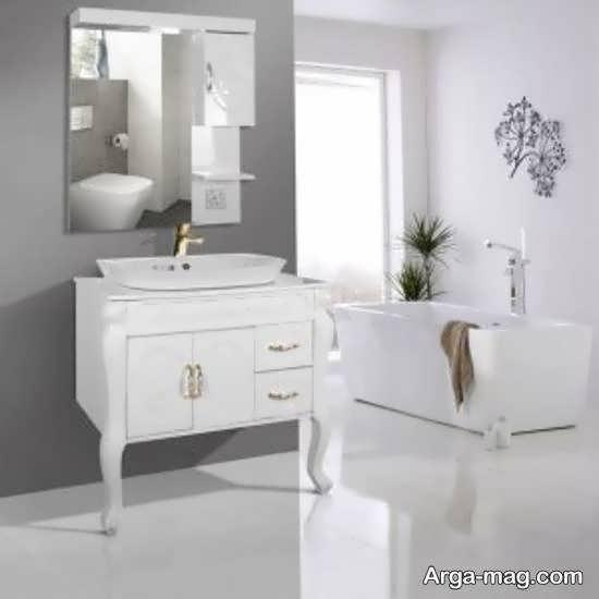 مدل روشویی کابینت دار سفید رنگ سرویس بهداشتی