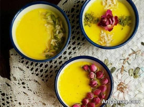 تزیین با دارچین و گل محمدی شله زرد