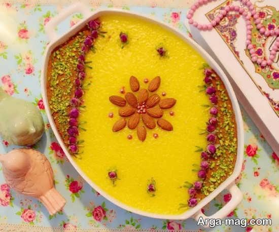 تزیین شله زرد نذری با مواد خوشمزه