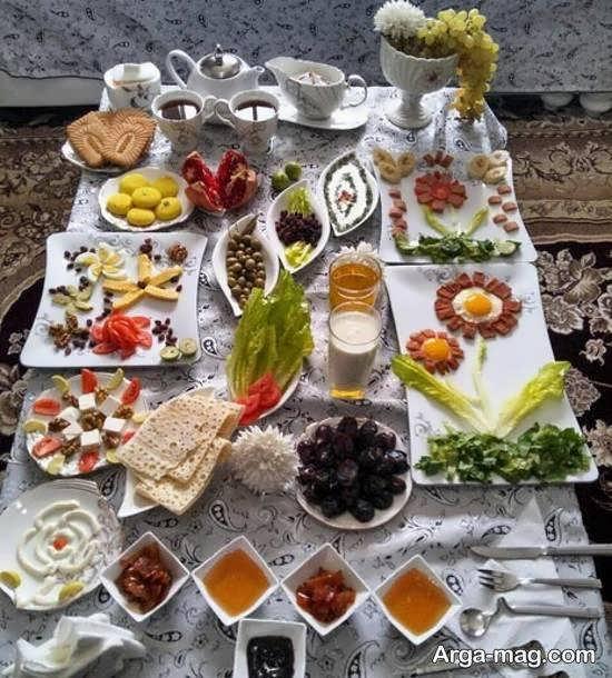 انواع تزیینات سفره صبحانه برای مهمان مجلسی و شیک