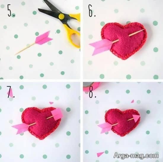 آموزش تصویری ساختن قلب با نمد