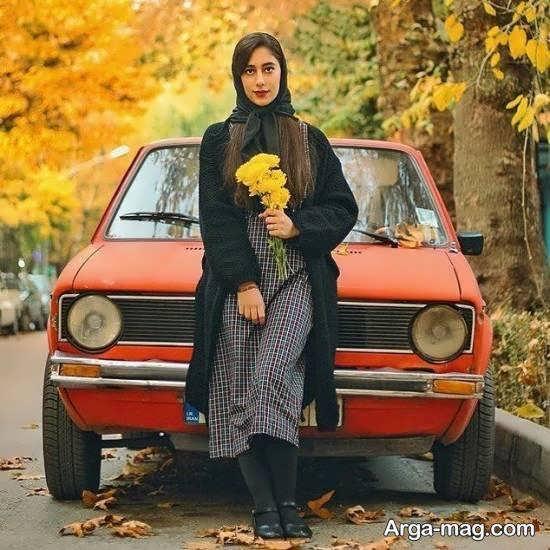 انواع فیگور عکس با ماشین دخترانه زیبا