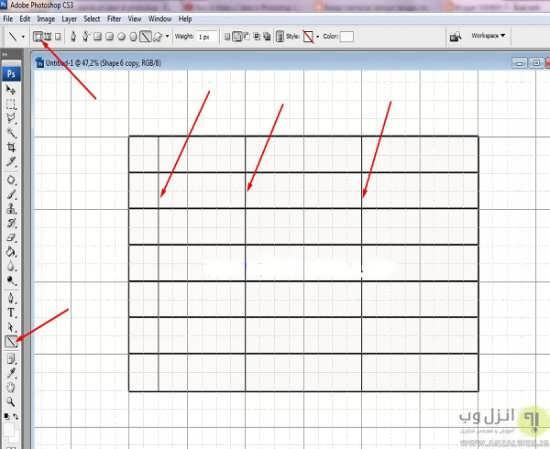 کشیدن آسان جدول در فتوشاپ