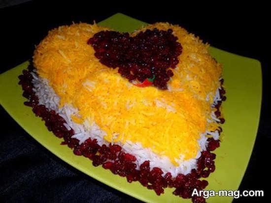 تزیین خاص غذا به شکل قلب