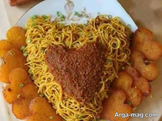 تزیین شیک غذا به شکل قلب