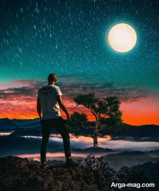 تصویر ستاره های درخشان و ماه برای پروفایل