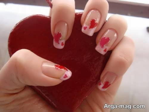 طراحی ناخن قلبی