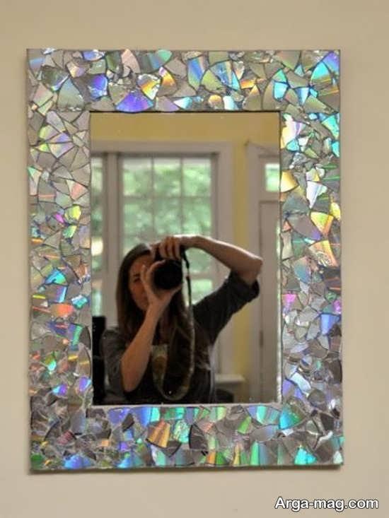 تزیین جذاب دور آینه با سی دی