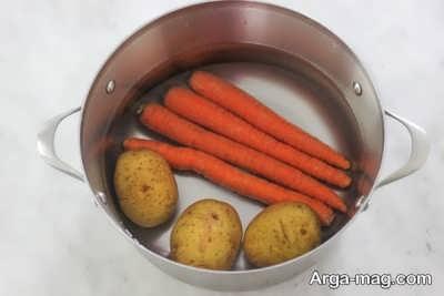 پختن هویج و سیب زمینی