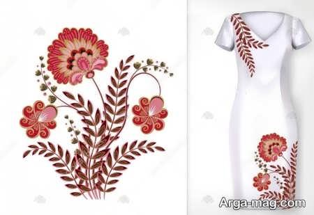 طرح گلدوزی سنتی روی لباس