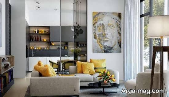 ایده های دیزاین لوکس و شیک سالن پذیرایی با استفاده از رنگ طوسی