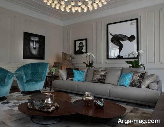 انواع دیزاین اتاق پذیرایی شیک و زیبا به رنگ طوسی