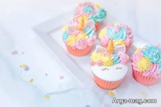 تزیین کاپ کیک با تم یونیکورن