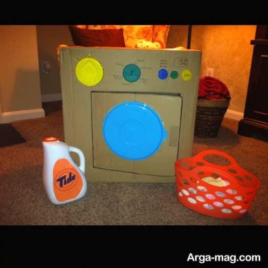تصویری زیبا از کاردستی ماشین لباسشویی