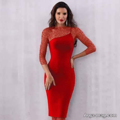 لباس مجلسی قرمز و کوتاه