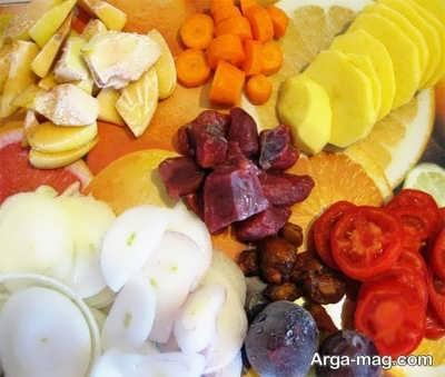 خرد کردن سبزیجات تاس کباب
