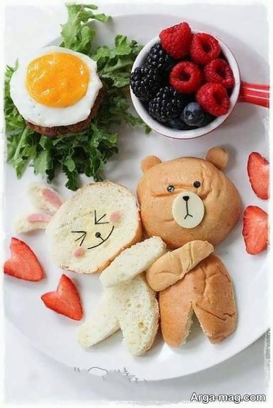 تزیین صبحانه کودک به شکل زیبا