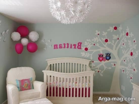 تزئین زیبای دیوار اتاق نوزاد