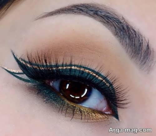 خط چشم مشکی و طلایی