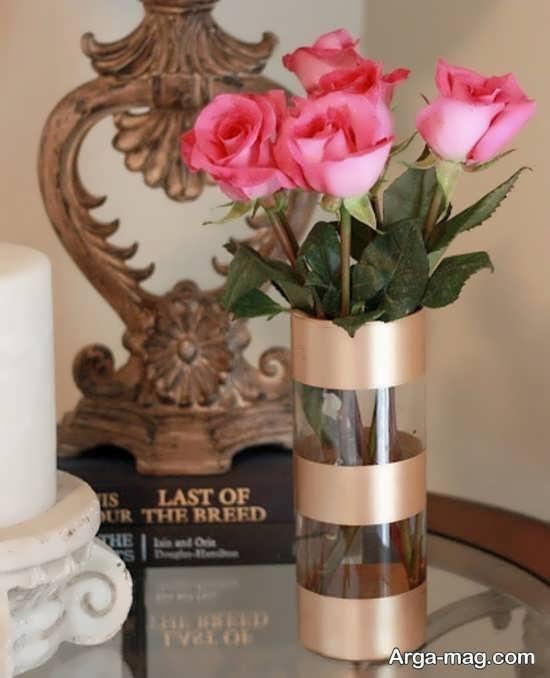 تزئین جالب گلدان شیشه ای
